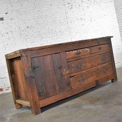 Antique Rustic Primitive Pine Factory Cabinet or Work Bench with Age Patina