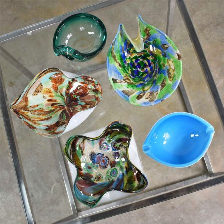 Set 5 Pieces Italian Murano Glass Dishes AVeM Tutti Frutti & Others Turquoise Blue Green