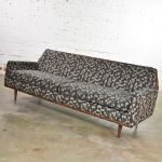 Mid Century Modern Petite Sofa with Wood Trim Newly Upholstered Gray Black Taupe Geometric