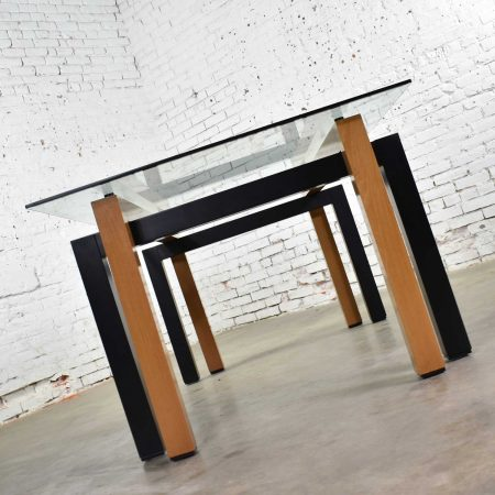 Modern Glass Top Dining Table Made in Italy by Pietro Costantini Cherry & Black Lacquer