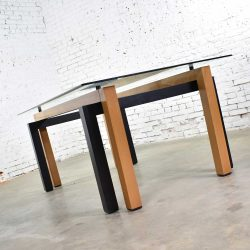 HOLD – Modern Glass Top Dining Table Made in Italy by Pietro Costantini Cherry & Black Lacquer