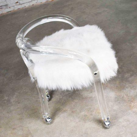 Hollywood Regency Lucite Vanity Stool with White Faux Fur Style of Charles Hollis Jones