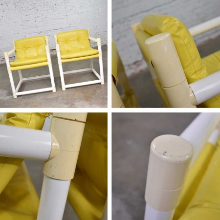 Pair MCM Outdoor PVC Side Chairs Yellow Vinyl Upholstery by Decorion Fun Furnishings