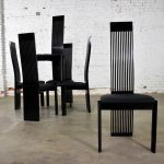 Six Tripod Post Modern Black Lacquer Dining Chairs by Pietro Costantini Made in Italy