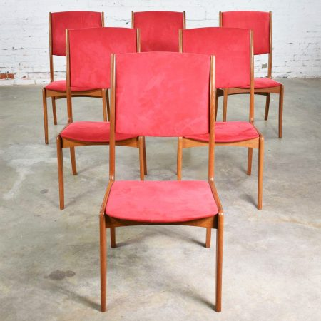 Mid Century Scandinavian Modern Set of Six Teak Dining Chairs with Red Ultra Suede
