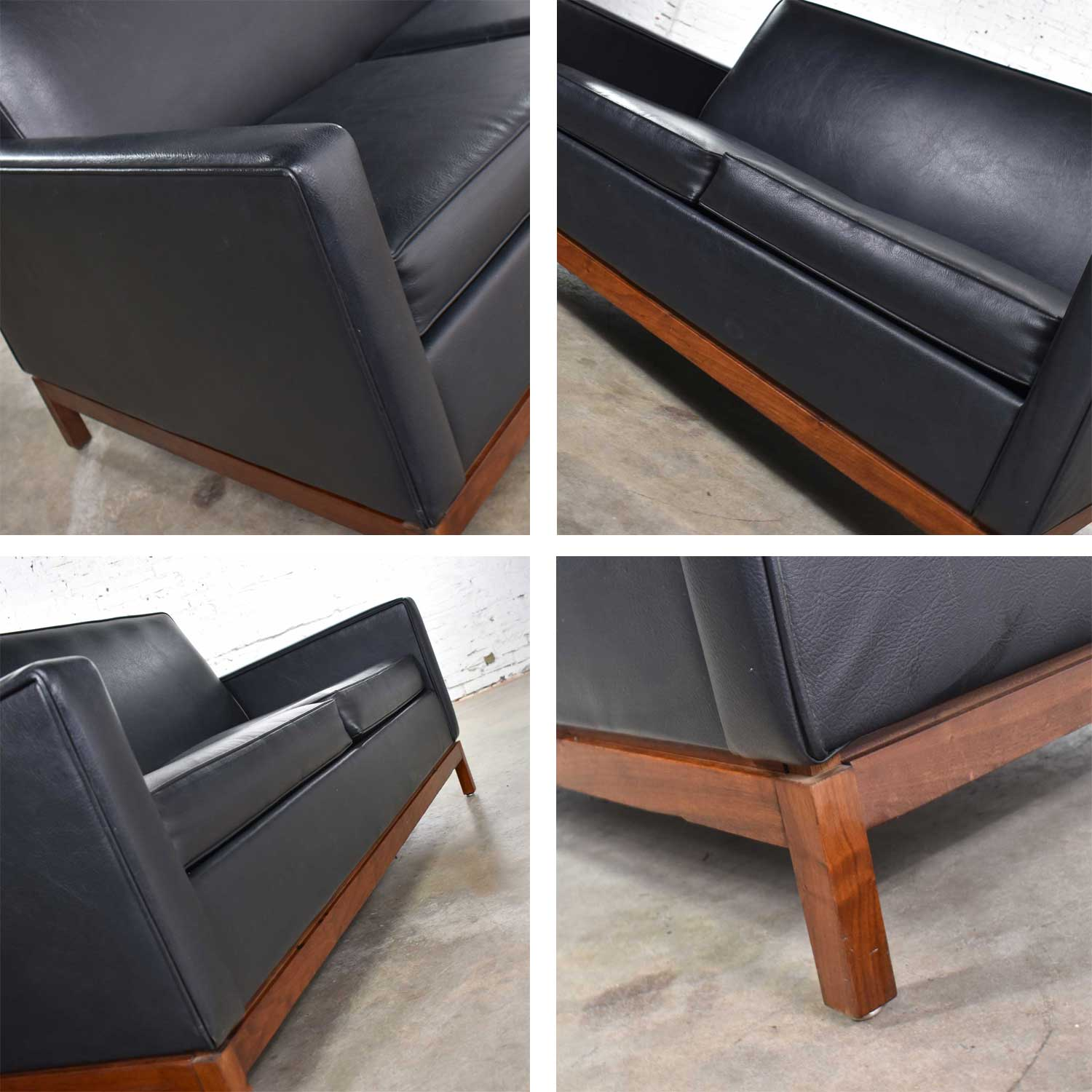 Mid Century Modern Black Faux Leather Love Seat Sofa By Taylor Chair Co Style Dunbar Warehouse 414
