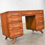 Mid Century Modern Franklin Shockey Sculpted Pine Double Pedestal Desk or Vanity