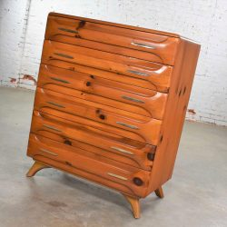 Mid Century Modern Franklin Shockey Sculpted Pine Tall Chest of Drawers