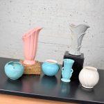 Collection of 6 Vintage Vases Abingdon RumRill Van Briggle Gonder 2 Gladding McBean