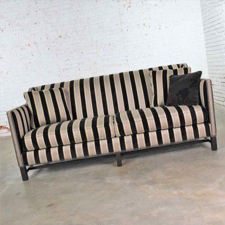 Black & Taupe Stripe Tuxedo Sloped Arm Sofa by Bernhardt Interiors w/ Nail Head Detail & Trestle Base