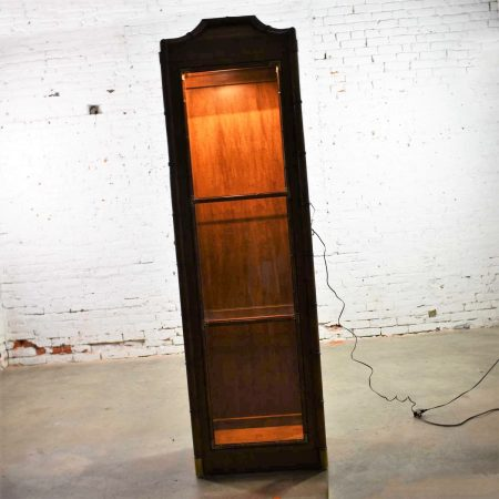 Weiman Hollywood Regency Campaign Style Faux Bamboo Narrow Lighted Display Cabinet