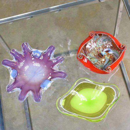 2 Italian Murano Glass Dishes Attributed to Fratelli & Toso & 1 Scandinavian Bowl by Kedelv for Flygsfors