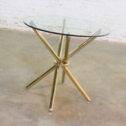 HOLD-Vintage Modern Brass Plated Jax Center or End Table with Round Glass Top