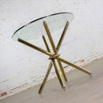 Vintage Modern Brass Plated Jax Center or End Table with Round Glass Top