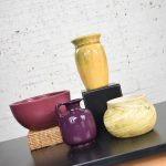 Collection of Four Vintage Pottery Pieces Aubergine Bowl Hull Yellow Vase Plum Frankoma Ewer Swirl Pot