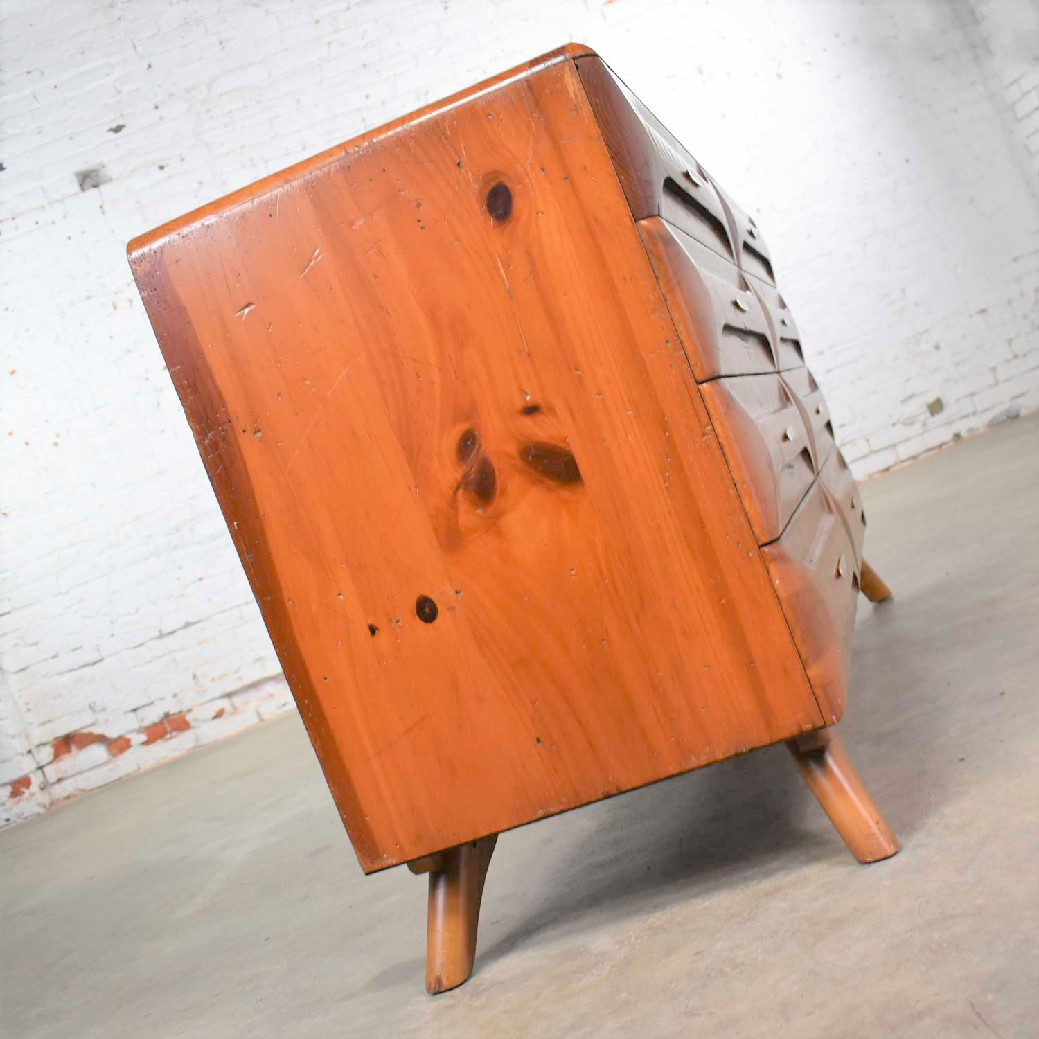 Mid Century Modern Franklin Shockey Sculpted Pine Low ...