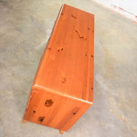 Mid Century Modern Franklin Shockey Sculpted Pine Low Double Dresser or Credenza