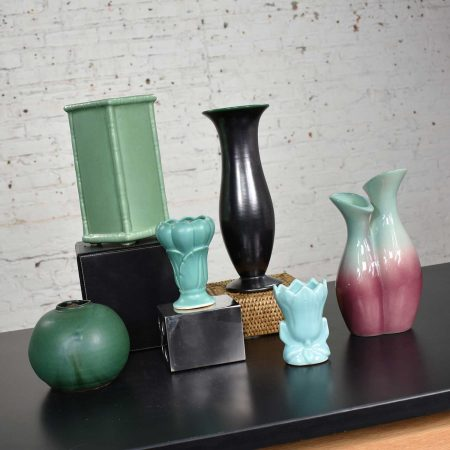 Collection of Six Vintage Pottery Vases Green Black Aubergine