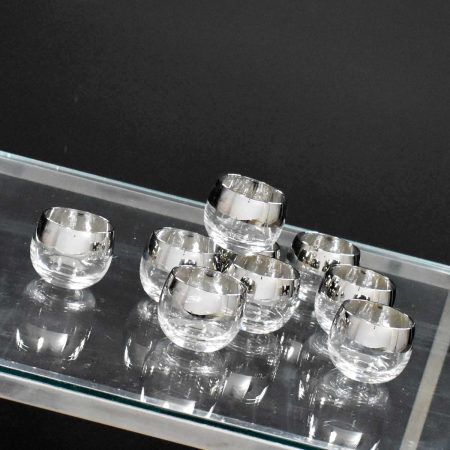Silver Rimmed Roly Poly Cocktail Glasses Style of Dorothy Thorpe Set 9