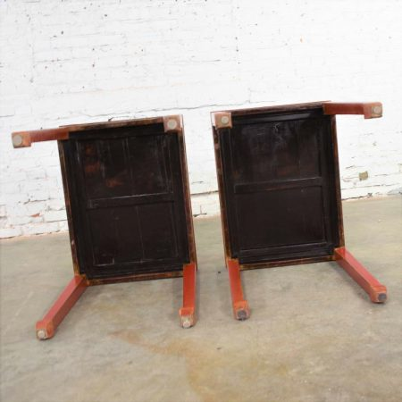 Pair of Asian Ming Style Chinese Crackle Red Lacquer Rectangular End Tables