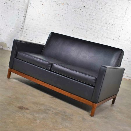 Mid Century Modern Black Faux Leather Love Seat Sofa by Taylor Chair Co. Style Dunbar
