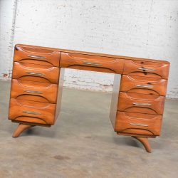 Mid Century Modern Franklin Shockey Sculpted Pine Double Pedestal Desk or Vanity