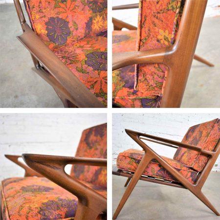 Scandinavian Modern Selig Z Lounge Chair by Poul Jensen in Walnut w/Original Fabric