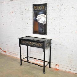 Antique Lacquered Asian Console Table & Mirror w/ Hand Carved Lacquer Figures & Florals