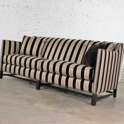 HOLD – Black & Taupe Stripe Tuxedo Sloped Arm Sofa by Bernhardt Interiors w/ Nail Head Detail & Trestle Base