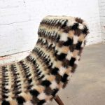Wave Chaise Lounge in the Style of Adrian Pearsall with Original Faux Fur Upholstery
