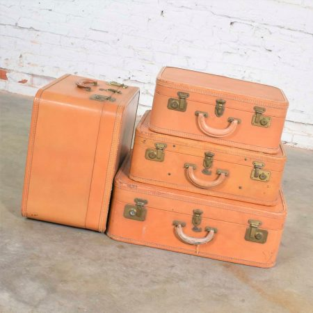 4 Vintage Stratosphere Rappaport Leather Suitcases Luggage as Side Tables End Tables