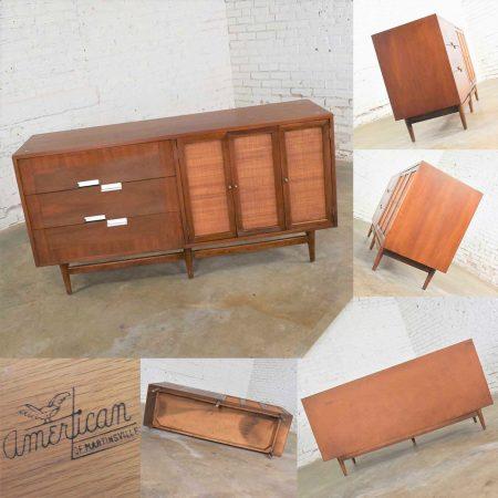 American of Martinsville Accord Walnut & Cane Dresser & Bachelor's Chest w/ X's & Asymmetric Handles
