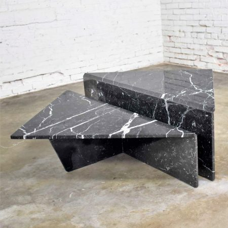 Black Marble Triangle Bi-Level Pair Tables as Coffee Table or End Tables Style Up & Up