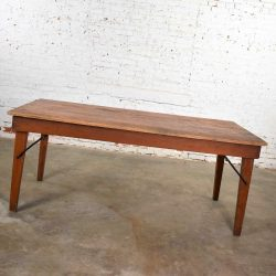 Vintage Pine Industrial Rustic Worktable or Farmhouse Table with Folding Legs