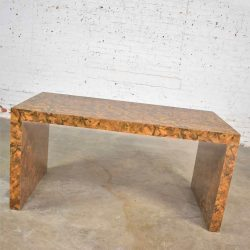 Modern Waterfall Parsons Table Desk in Faux Tortoise Shell Laminate Style Karl Springer