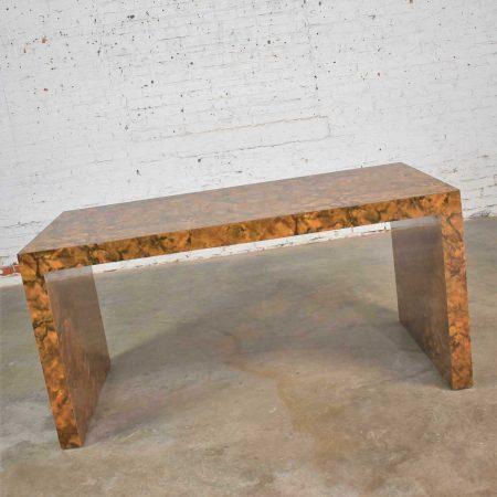 Modern Waterfall Parsons Table Desk in Faux Tortoise Shell Laminate Style Karl Springer