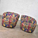 Pair of Asymmetric Nautilus Swivel Chairs in Style of Vladimir Kagan