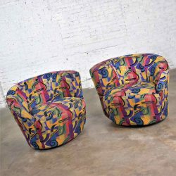 Pair of Asymmetric Nautilus Swivel Chairs in Style of Vladimir Kagan
