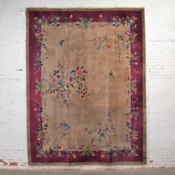 "Antique Chinese Art Deco Wool Handmade Rug Taupe with Magenta Border 8'8""x11'4.5"""