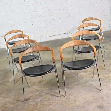 8 Hans Eichenberger Saffa Dining Chairs Dietiker & Stendig Black Vinyl Chrome & Wicker