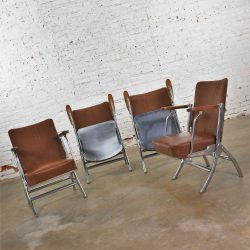 HOLD – Vintage Art Deco Streamline Bauhaus Chrome Frieze Vinyl Folding Auditorium Chairs