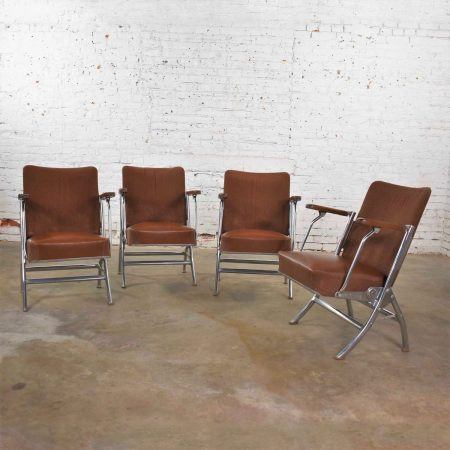 Vintage Art Deco Streamline Bauhaus Chrome Frieze Vinyl Folding Auditorium Chairs