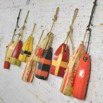 Vintage Painted Wood Authentic Lobster/Crab Trap Buoys Maritime Nautical Décor Set 11