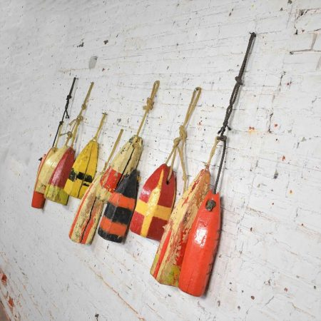 Vintage Painted Wood Authentic Lobster/Crab Trap Buoys Maritime Nautical Décor Set 11
