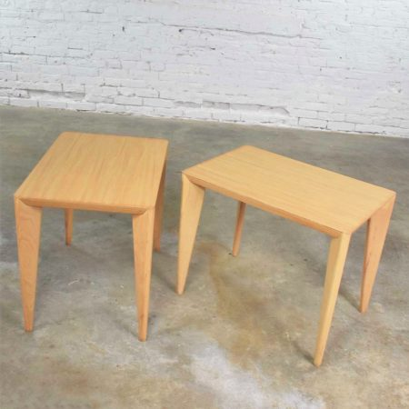 Mid Century Modern Blonde Side Tables or End Tables with Laminate Tops a Pair