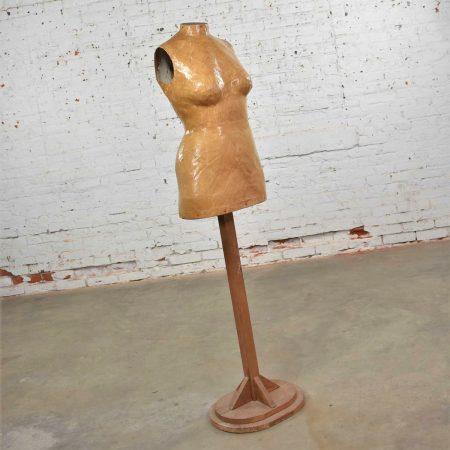 Vintage Papier-Mache Female Dress Form Mannequin on Pine Wood Stand