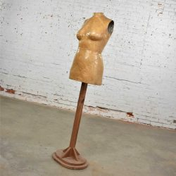 Vintage Papier-Mache Female Dress Form Mannequin on Pine Wood Stand