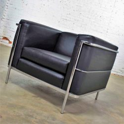 HOLD-Vintage Jack Cartwright 20/123 Club Chair in Black Faux Leather After Corbusier LC2