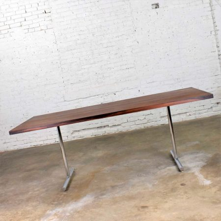 Omega Dining Table in Rosewood & Chrome Attributed to Hans Eichenberger