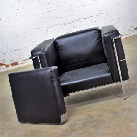 Vintage Jack Cartwright 20/123 Club Chair in Black Faux Leather After Corbusier LC2
